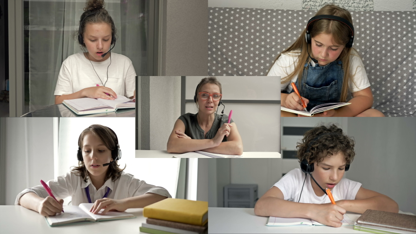 Computer monitor and teacher with kids studying by internet. Online education, distance learning, communication, teaching, study. | Shutterstock HD Video #1055773304