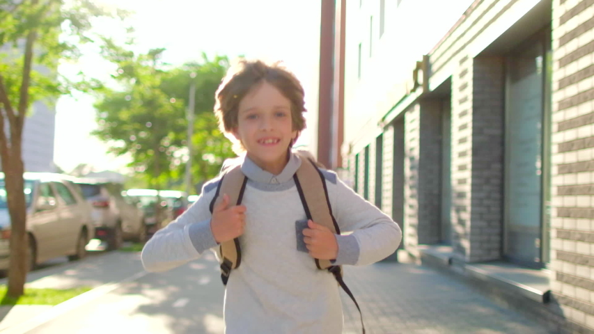Portrait of happy school boy smiling schoolboy little boy child with backpack alone going running to children kid at sun street outdoors, First-grade student primary first class education 4 K slow-mo | Shutterstock HD Video #1055801600