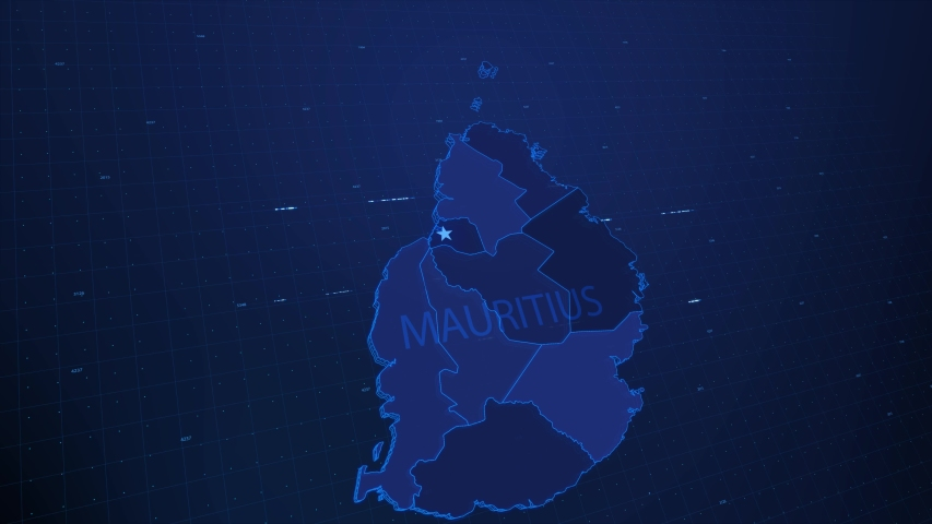 A stylized rendering of the Mauritius map conveying the modern digital age and its emphasis on global connectivity among people | Shutterstock HD Video #1055832500