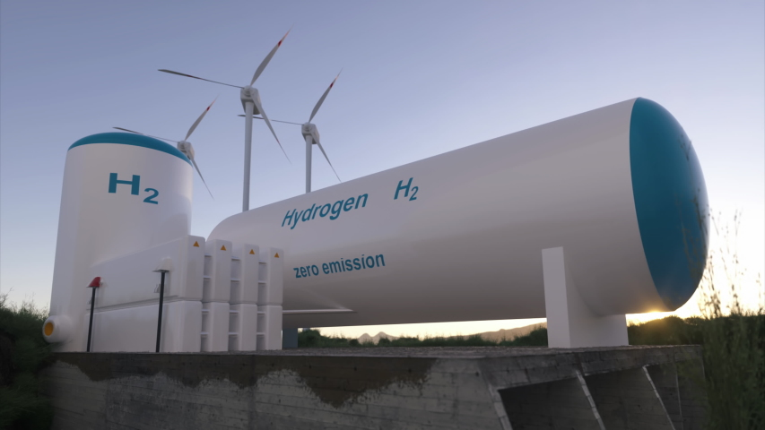 Hydrogen renewable energy production - hydrogen gas for clean electricity solar and windturbine facility. 3d rendering. | Shutterstock HD Video #1055887868