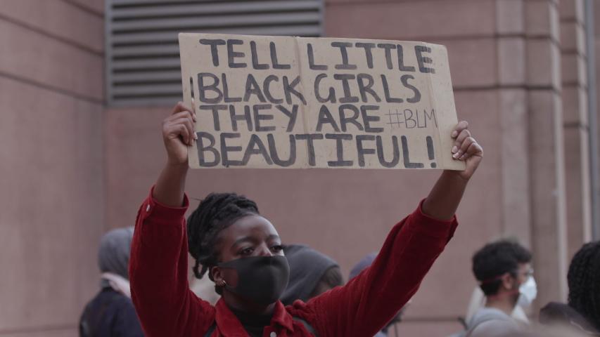 LONDON, ENGLAND - JUNE 07, 2020: Activists demand justice in massive Black Lives Matter protest (US Embassy London)