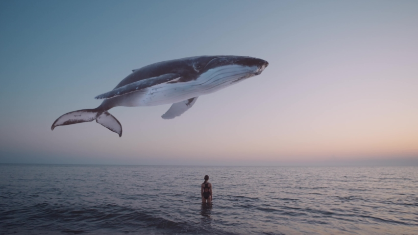 Girl watches humpback whale flying above the sea. Mystical, fantasy, dream scene, a spirit animal or creative illustration for ecology and extinction topics. Cinematic quality.