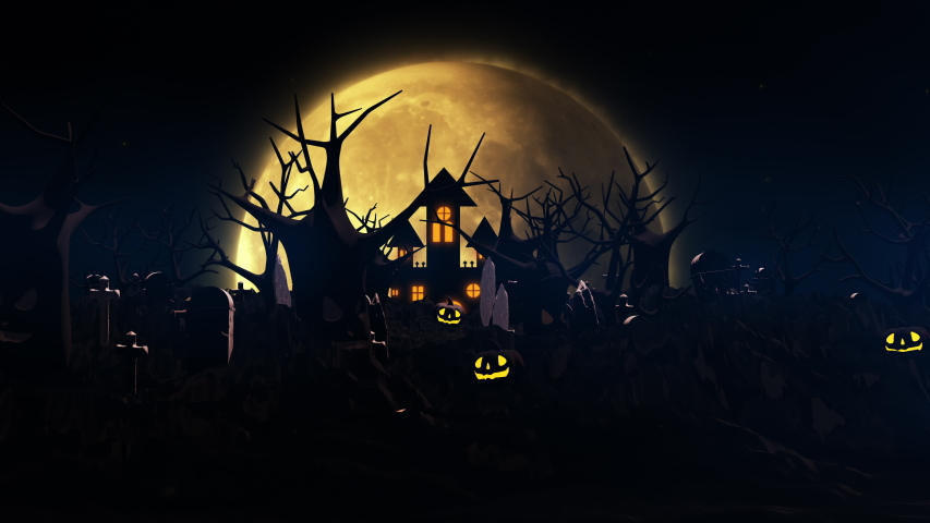 Halloween background with haunted castle, ghost, bats and pumpkins, graves, at misty night spooky with fantastic big moon in sky. 3D animation rendered in 4K