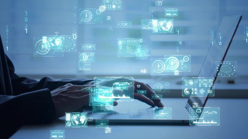 Digital transformation concept. Binary code. Programming. Royalty-Free Stock Footage #1055908796