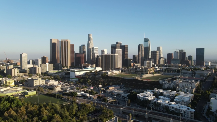 4K Aerial View of Downtown Los Angeles in Summer 2020