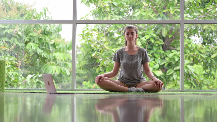Relaxed young woman working out at home with yoga, doing stretching exercise on yoga mat while watching fitness video online on laptop at home. Female practicing yoga exercise online with laptop | Shutterstock HD Video #1055915087