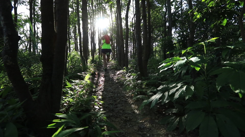Young woman trail runner running in sunrise tropical forest, lens flare slow motion