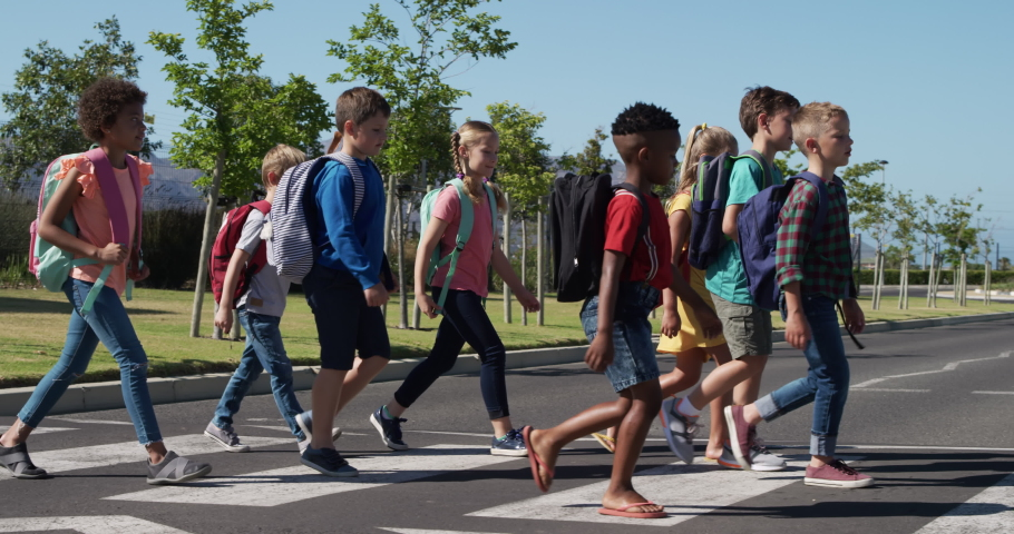 Multi-ethnic group of children crossing the road on a pedestrian crossing, carrying their schoolbags, in slow motion. Elementary school children, road safety. Royalty-Free Stock Footage #1055938055
