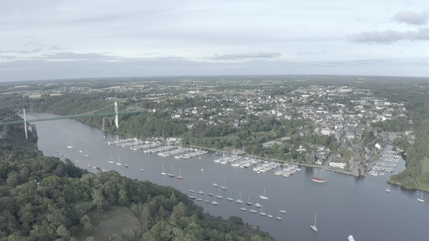 4K D-Log Mavic 2 Pro aerial view of the village of La Roche-Bernard and the Morbihan bridge in the department of Morbihan in French Brittany