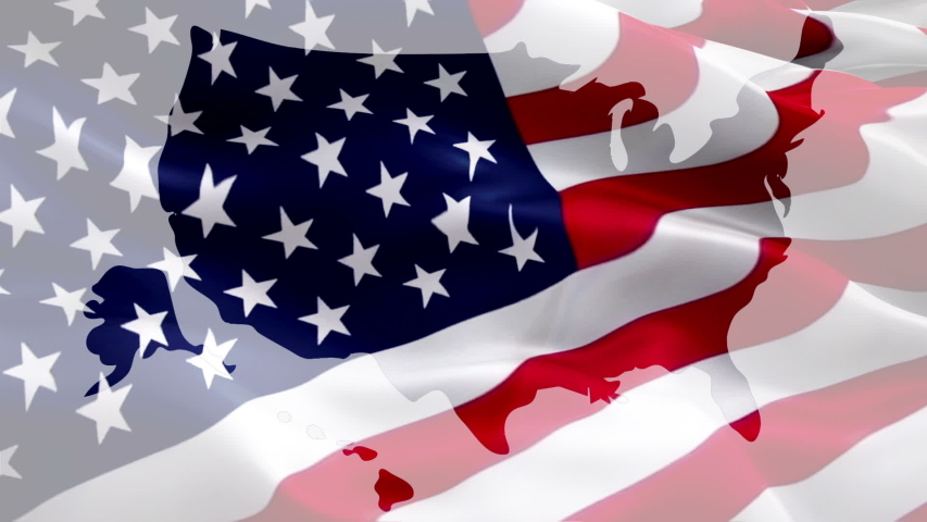 US map flag video. United States of America map waving video gradient background. 4th of july US American map Flag Waving. USA flag for Independence Day, 4th of july US American Flag Waving 1080p Full