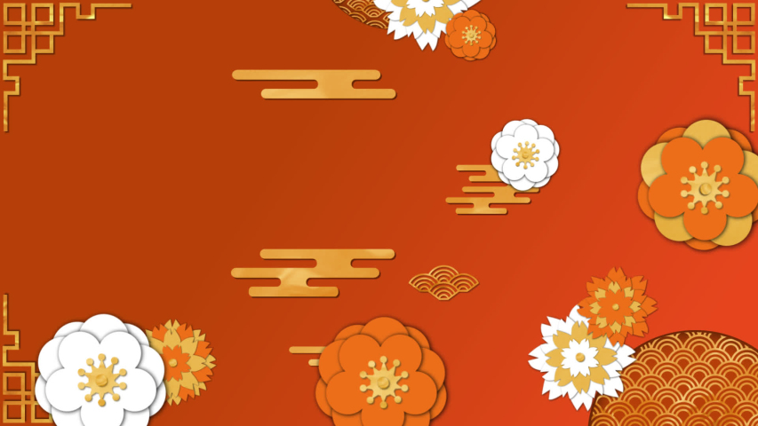 Animation of moving yellow, orange and white flowers and patterns on an orange background | Shutterstock HD Video #1055941367