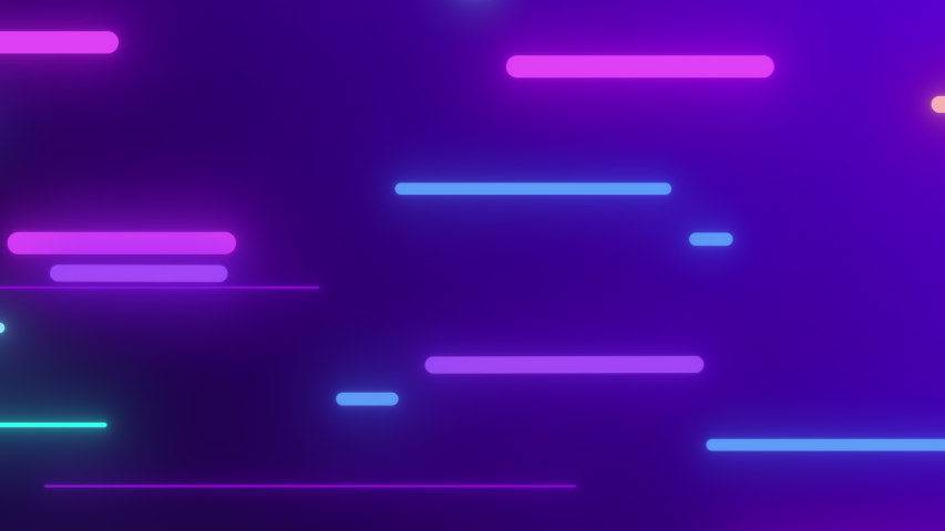 Seamless loop of 2D animation of glowing horizontal lines streaming across the screen. Deep blues and vibrant purples make this a great seamless loop abstract background.