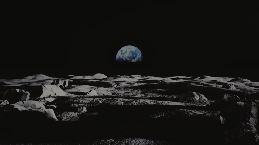 Moon panorama and earth view from the moon surface. Slow camera dolly in shot. Apollo mission. Cinematic shot. High quality 4k footage | Shutterstock HD Video #1055955626