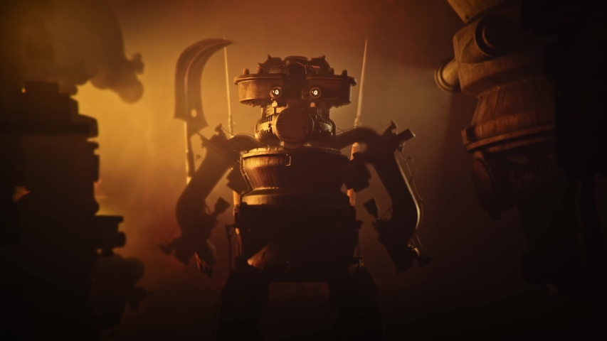 Steampunk warrior robot with glowing eyes in red lit corridor. Sci-fi scene. Cinematic fantasy 3d animation. High quality 4k footage | Shutterstock HD Video #1055955635