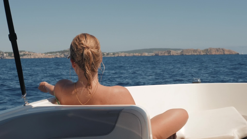 Rest On Yacht Young Man And Woman Sunbathes The Sun Pink Fine Art 1