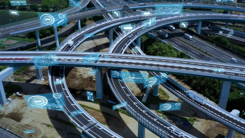 Transportation and technology concept. ITS (Intelligent Transport Systems). Mobility as a service. Digital traffic sign. Royalty-Free Stock Footage #1055971904