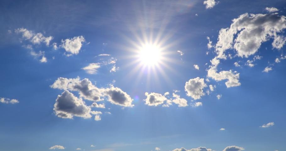 beautiful cloud Blue sky with clouds 4K sun Time lapse clouds #1055976278