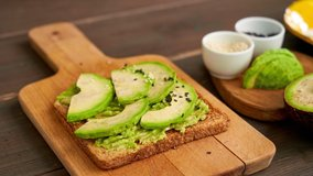 Stop motion video of cooking sandwich with avocado. Toast with avocado. Stop motion animation