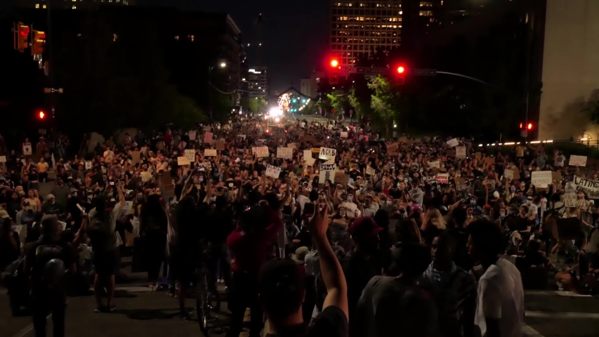 NEW YORK, United States - JULY 12, 2020: Washington Square Park filled to capacity with protestors activists Black Lives Matter.protesting the police killing of George Floyd, demonstration in New York