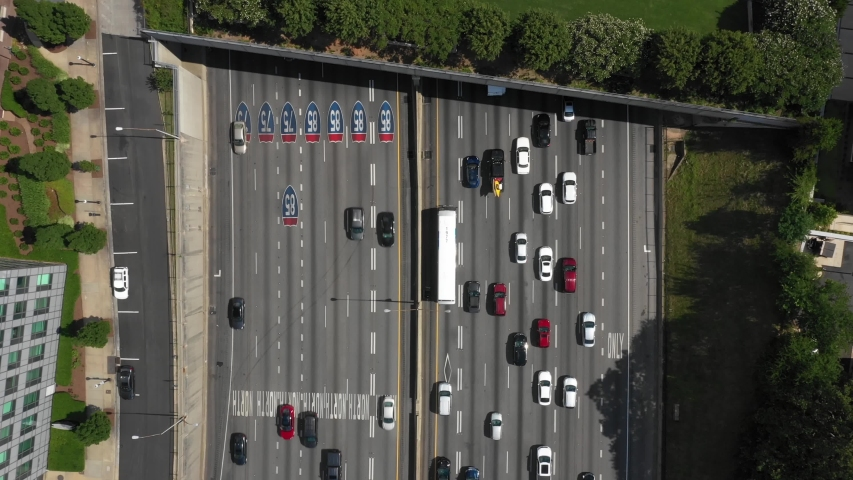 I-85/I-75 Freeway Highway Looking Straight Down with Traffic | Shutterstock HD Video #1055998565