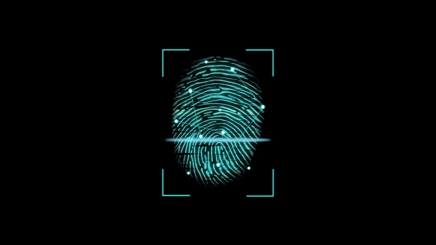 Motion of animation of fingerprint colorful neon Touch ID futuristic digital processing. Points connecting by lines. Security, guard concept for mobile application or smartphone unlock. Royalty-Free Stock Footage #1055999090