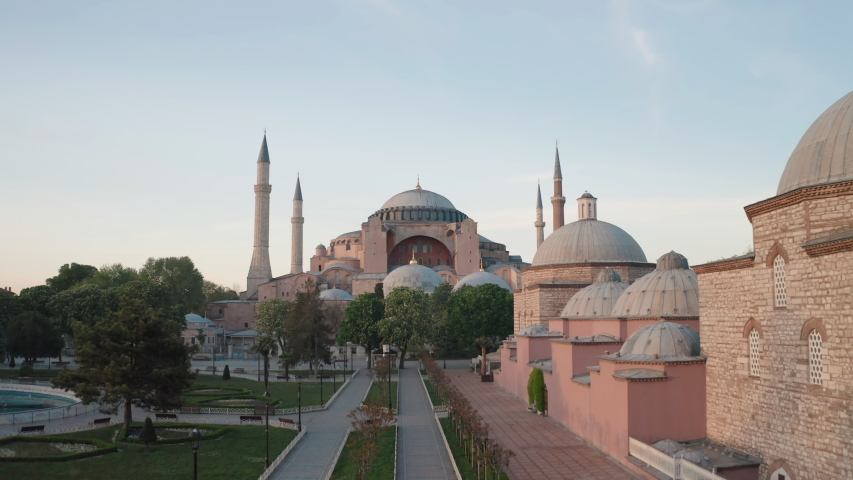 Aerial view of Hagia Sophia (Ayasofya Camii) in Istanbul. Empty Streets without people. Quarantine days. 4K Footage in Turkey | Shutterstock HD Video #1056000521