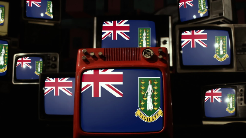 Flag of the British Virgin Islands on Vintage Televisions.