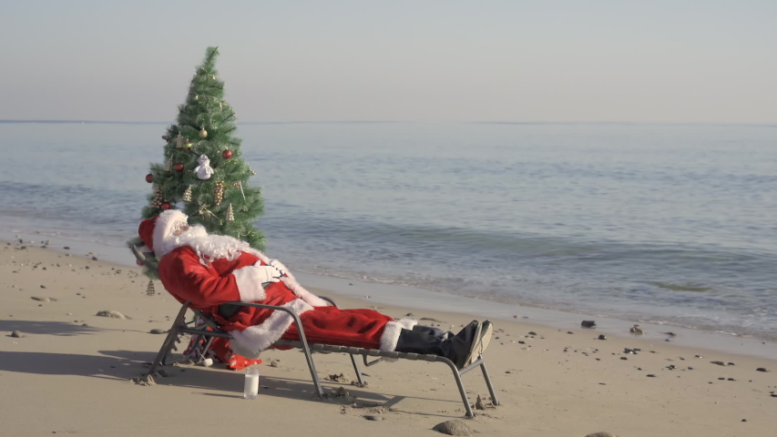Santa Claus on beach is saying Merry Christmas congratulates, shaks hand, celebrate christmas with tree. Santa Claus in summer Royalty-Free Stock Footage #1056017867