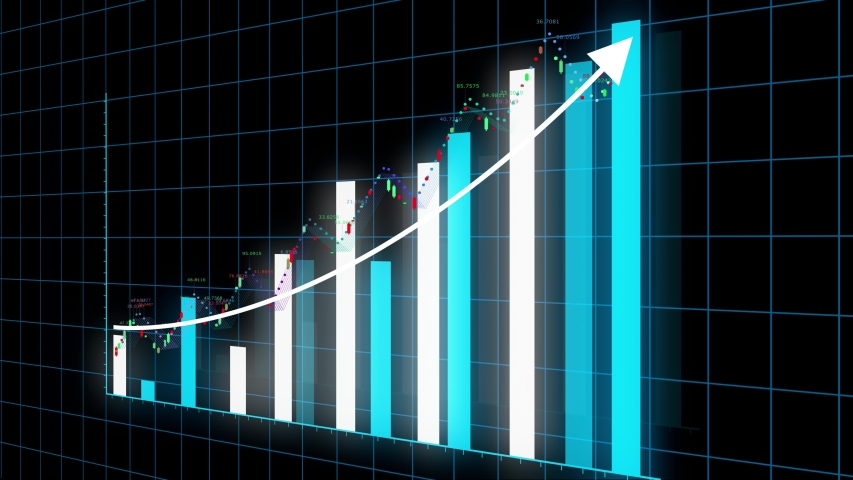 4k HUD graph with rising up arrow and bar stats,Financial data and diagrams showing a steady increase in profits,growing charts and flowing counters of numbers,Business digital trend.    Shutterstock HD Video #1056028856