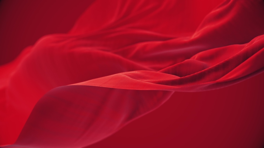4k Red wave satin fabric loop background.Wavy silk cloth fluttering in the wind.tenderness and airiness.3D digital animation of seamless flag waving ribbon streamer riband.