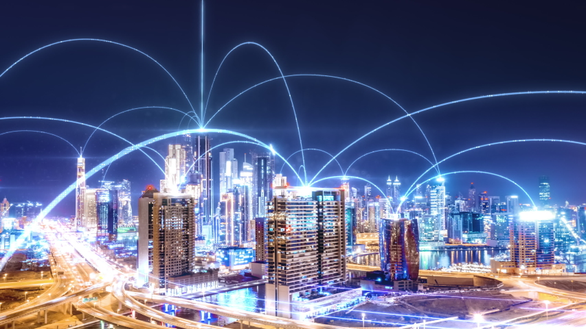 Smart City Aerial Drone Footage Hologram Information Arches Forming During Network Communication Futuristic Network and Technology 5G Drone Low Light 4k | Shutterstock HD Video #1056029879