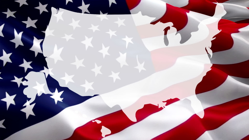 United States of America map waving flag video gradient background. Waving Flag United States Of America Map. USA map flag for Independence Day, 4th of july US American Flag Waving 1080p Full HD foota