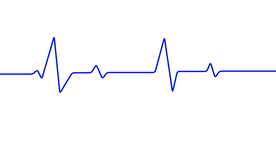 4k blue heartbeat line animation on white background. 4k seamless loop animation.