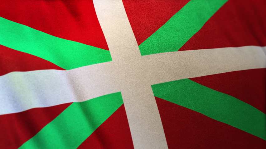 locked full-screen close shot of the Ikurriña Autonomous Community flag of the Basque Country seamlessly waving in the wind. 3D animation of banner/emblemin realistic satin texture in daylight.