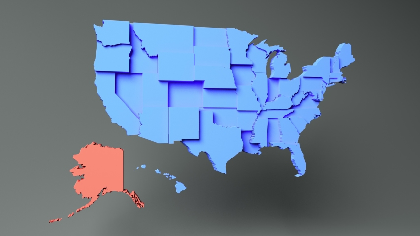 ALASKA - State map with 3D rendering of the United States.   Shutterstock HD Video #1056066548