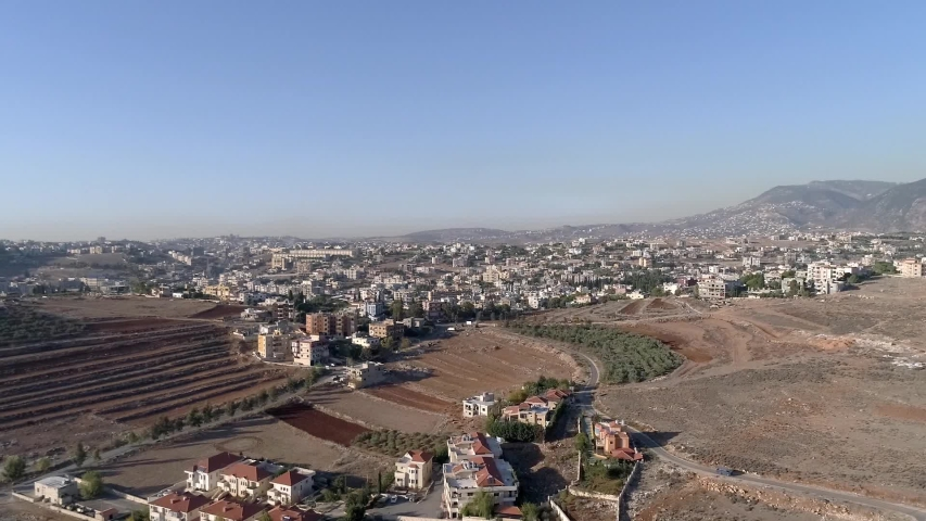 Lebanon South Nabatieh City and Mountain Villages Aerial Drone Panoramic Shot | Shutterstock HD Video #1056075737