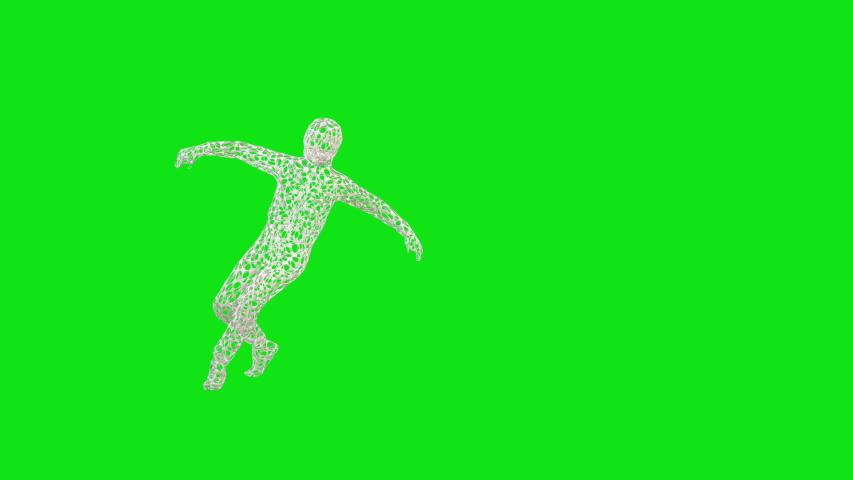 Abstract hollowed hip hop dancer, Green Screen Chromakey