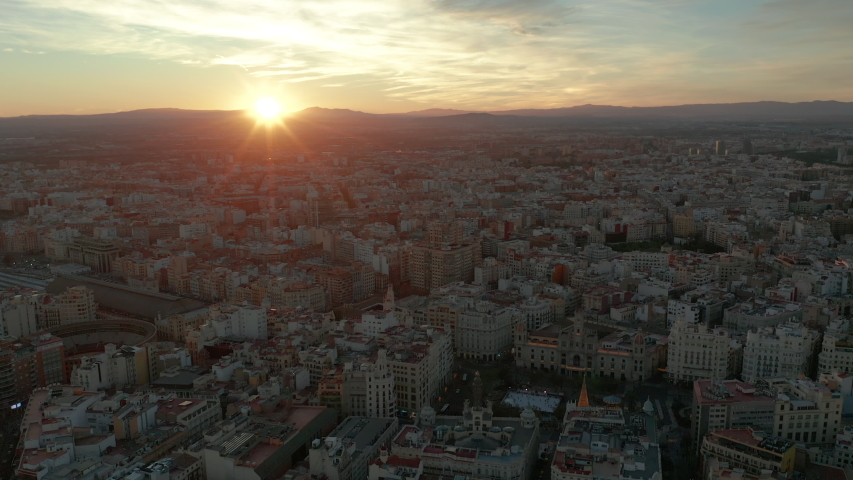 Valencia, Spain - 16.07.2020 Drone flying over the city | Shutterstock HD Video #1056085952