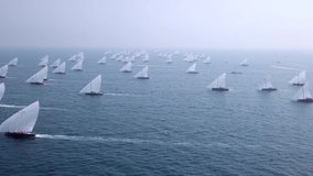 Aerial video of the dhow boats race in dubai persian gulf