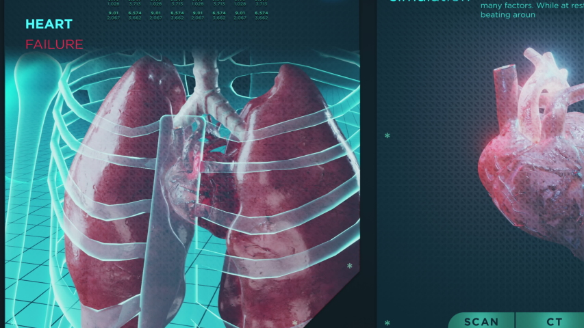 Heart failure and functions HUD. Cardiac disease, ilness medicine and healthcare system, cardiology screen hologram medical representation concept. Pulse concept pressure scan science anatomical