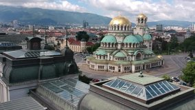 Sofia, Bulgaria May 2020. Video made with a drone in the area of St. Alexander Nevsky Cathedral.