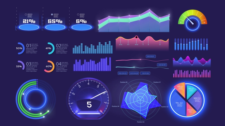 Modern Animation futuristic neon infographic template with statistics graphs and finance charts. Information panel Mockup. UI, UX,KIT, HUD elements design. Financial infographics set. Admin Royalty-Free Stock Footage #1056126761