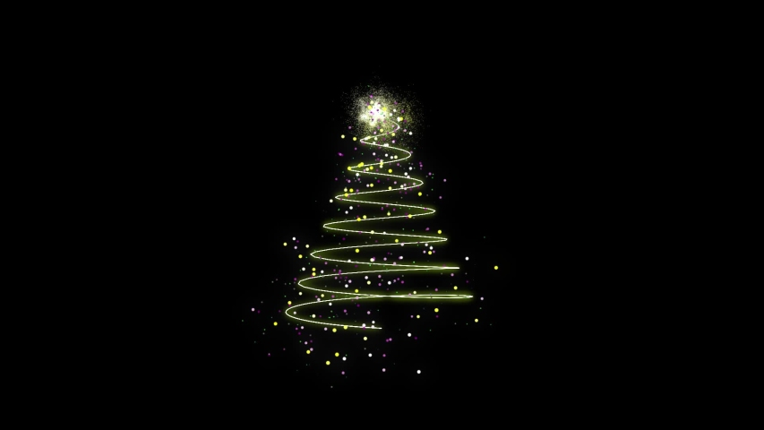 Animated Christmas tree with falling snowflakes on green screen background and copyspace, space for text. Christmas tree made of gold animated particles. Christmas mood. Glittering effect.   Shutterstock HD Video #1056130643