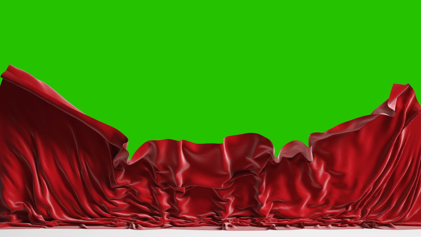 Falling red fabric with green chroma key, 4k Royalty-Free Stock Footage #1056146564