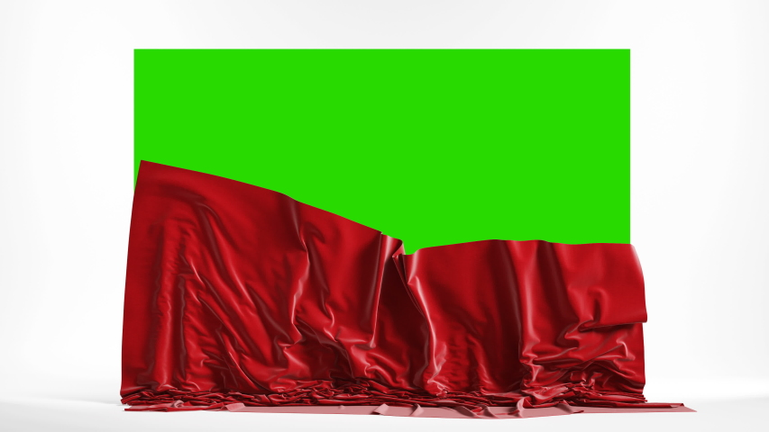 Presentation pedestal with a red silk cloth. Falling curtains with green chroma key, 4k Royalty-Free Stock Footage #1056146567
