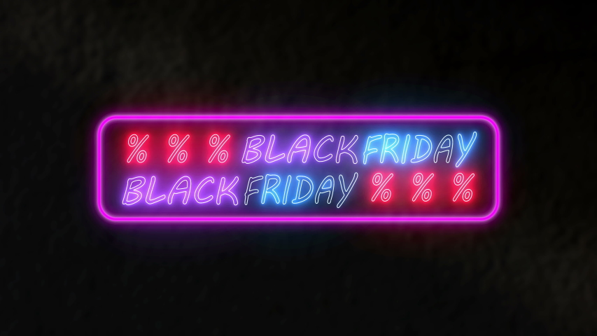 Neon light text black friday animation. Animation flashing neon on dark background. | Shutterstock HD Video #1056149060