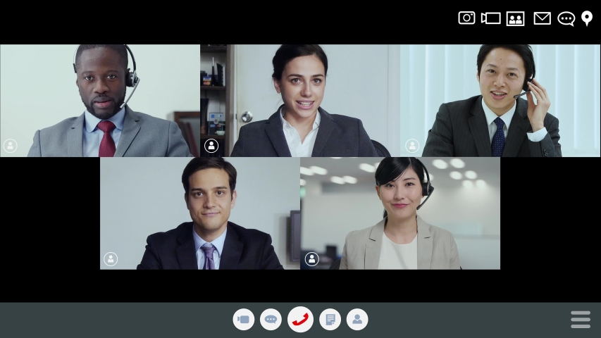 Video conference concept. Teleconference. Telemeeting. Webinar. Online seminar. e-Learning. Royalty-Free Stock Footage #1056159248