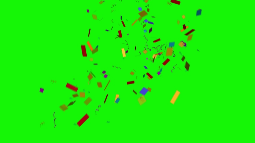 Colorful 3D animation of confetti falling on green screen so you can easily put it into your scene or video. Celebrate the holidays with it.
