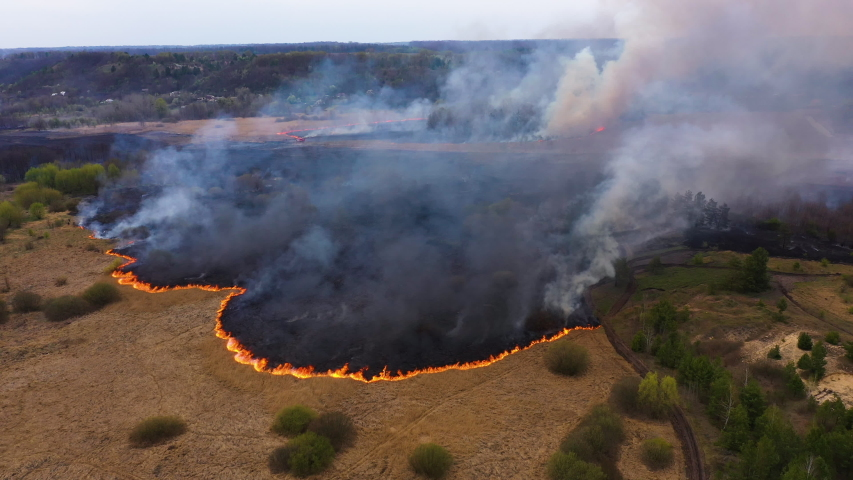 Epic aerial footage of smoking wild fire. Forest and field in the fire. Amazon and siberian wildfires. Dry grass burning. Concept: 2020, Climate change, ecology, earth | Shutterstock HD Video #1056172922