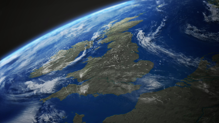 Map view of UK, Britain, England, Scotland, Wales, Ireland from above the clouds from space. Royalty-Free Stock Footage #1056183764